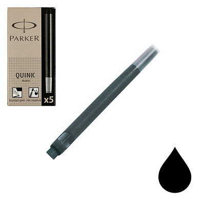 Pk/5 Parker Fountain Pen Ink Cartridges, Permanent Black