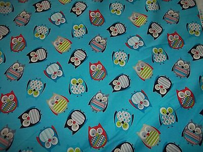 OWL TOSS  on BLUE COLOR FABRIC by TIMELESS TREASURES 100% COTTON -1 YARD  PIECE
