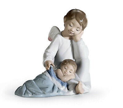 Lladro #6961 My Guardian Angel Brand New In Box Blue Blanket Baby Boy Save$$ F/s