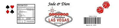 25 Las Vegas Wedding or  Shower Water Bottle Label Favor  Personalized for you