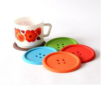 Funky Colourful Button Coffee Tea Drinks Cup Coaster Table Place Mat Tableware