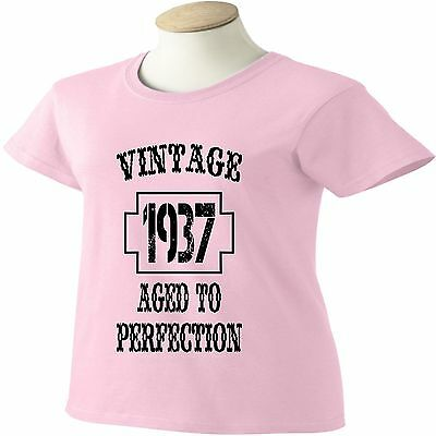 80th Birthday T Shirt 80 Years Old Vintage 1937 Aged To Perfection Womens