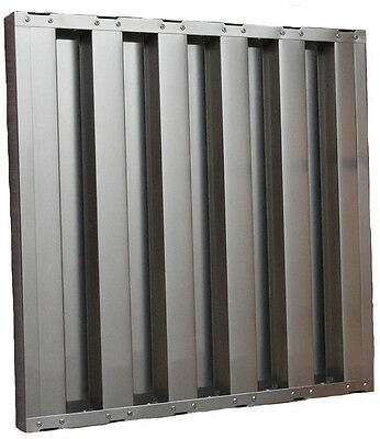 Hood Baffle Grease Filters Certified Box of 6 25 x 16 x 2 Stainless Steel