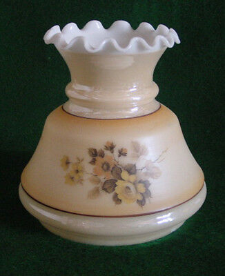 """OIL or CHANDELIER CRYSTAL GLASS LUSTER & MATTE,FLORAL. RUFFLED TOP 5-5/8""""FITTER"""