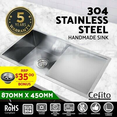 Cefito 870x450mm Handmade Stainless Steel Under/Topmount Kitchen Sink Laundry