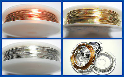 1 Reel 0.6mm 0.8mm Quality Copper Wire - Choice of Plating Copper Gold Silver