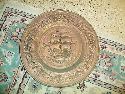 "Vintage BRASS WALL HANGING W/ Embossed Nautical Pirate Ship 22"" England"
