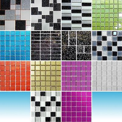 Trade Budget Glitter Mosaic Tile Sheets Glass Bathroom Borders Splashback Tiles