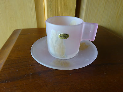 VINTAGE  AL-RAMA HAND PAINTED ISRAEL ART GLASS PINK CUP & SAUCER WITH LABEL