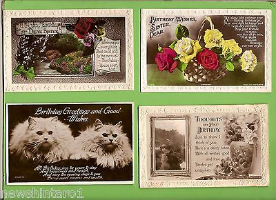 #D152.  FOUR 1920/1940s BIRTHDAY POSTCARDS, FLOWERS, CATS  etc