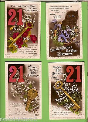 #D151.  FOUR 1920/1940s BIRTHDAY POSTCARDS, FLOWERS, CATS, 21st  etc