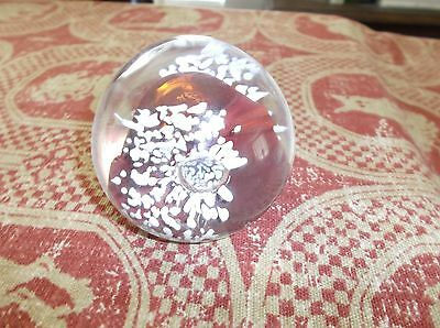 """KARG signed Studio Art Glass Paperweight, 3""""D, Controlled Air Bubbles, Red White"""