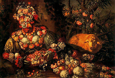 Perfect Oil panting Giuseppe Arcimboldo The Spring man with flowers fruits sheep
