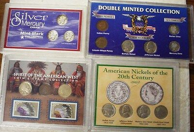 Lot Of 4 Us Coin Sets>>> West Coin & Stamp/double Mint/ Nickels/mercury Dimes