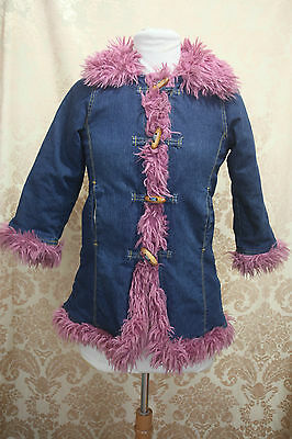 JELLY BEANS Blue Jean Winter Coat Pink Faux Fur Toggles Age 5YRS FINAL CLEARANCE