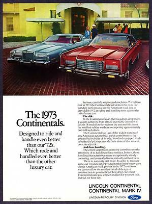 "1973 Lincoln Continental Mark IV & Town Car photo ""Rides & Handles Better"" Ad"