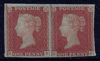 GB SG8 QV 1d RED BROWN UNUSED/MINT PAIR LETTERS SE-SF 1841