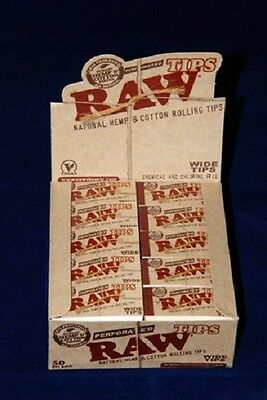 50 PKS Full Box RAW Wide Perforated Natural Unrefined Hemp & Cotton 2500 TIPS