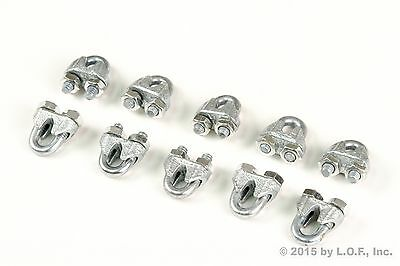 "(10) Wire Rope Clip Chain Clamp Galvanized Zinc Plated 3/16"" 7mm New"