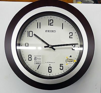 """Seiko """"Easton"""" Musical  Wall Clock With 18 Different Hi-Fi Melodies  Qxm547Blh"""