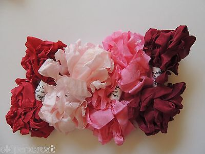 20 Yards CRINKLE SEAM BINDING RIBBON | Vintage Red Tulip Pink Burgundy | CR13