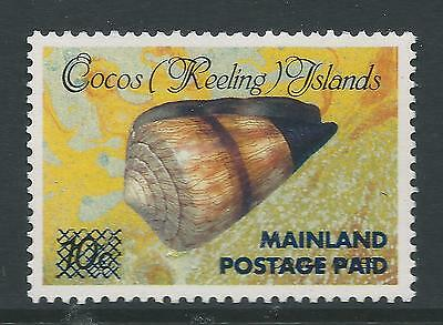 1991 COCOS ISLANDS 10c SHELL 2nd OVERPRINT POSTAGE PAID MAINLAND FINE MINT MUH