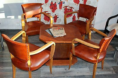 4 Chairs + Table Club Art Deco 1950Th