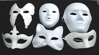 WHITE MASK PLAIN MASKS FANCY DRESS MASQUERADE PARTY Halloween MASK DECORATE