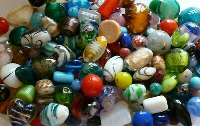 50 grams ~Assorted Mixed Colours & Sizes~Foil, Lampwork,Glass,Beads**UK SELLER**