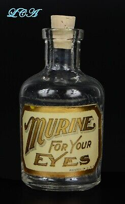 RARE antique 1800's MURINE EYE REMEDY Deluxe Toilet Bottle w/ LABEL under GLASS