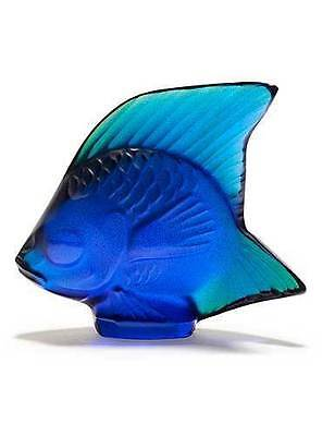 Lalique #10363800 Cap Ferrat Blue Luster Crystal Fish Brand New In Box Shinny Fs