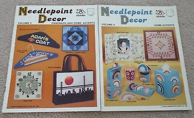 """NEEDLEPOINT DECOR Volumes 3-4 Plastic Canvas Patterns LOT """"And I Made It Myself"""""""