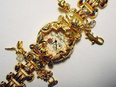 VTG KIRKS FOLLY AB CRYSTAL FIGURAL CHARM NEVERLAND MAP GOLD PLATED WRIST WATCH