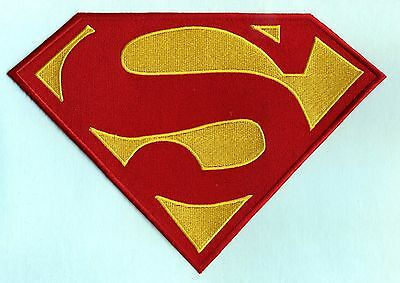 "7"" x 10"" Embroidered Dean Cain style Superman Red & Yellow Chest Logo Patch"