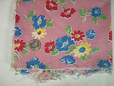 Vtg BLUE, PINK & YELLOW Flowers on PINK Background Opened Feed Sack - BRIGHT!