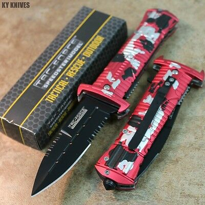 """8.25"""" Assisted Open Rescue RED CAMO Pocket Knife New TF-789RD zix"""