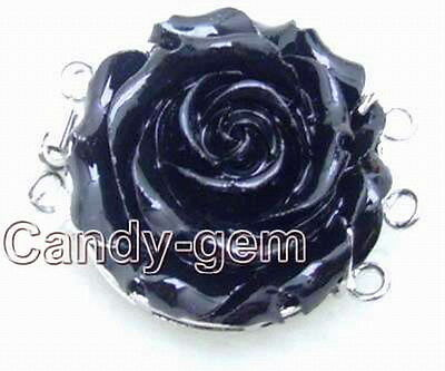 SALE One Big 30mm Black Coral Flower shape Three strands Clasp-gp67