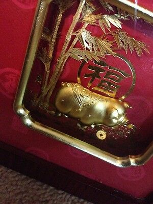 Asian Framed Gold Pig Beautiful Good Fortune