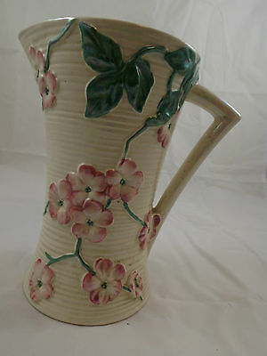 Maling Tall Apple Blossom Jug / Pitcher / Vase 1950s Vintage Pearlescent China