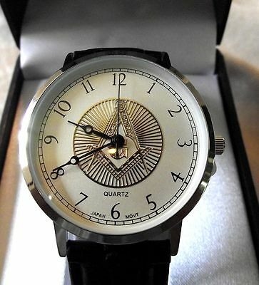 MASONIC WRIST Watch LEATHER BAND- NO RESERVE -GREAT GIFT  -NEW- MORE LISTED