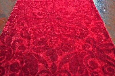 Exceptional Antique Fabric: Crimson Cut Mohair From The Early 1900'S X15A