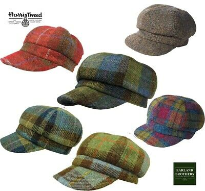 Genuine Harris Tweed Cap Ladies Baker Boy Newsboy Cap Ladies Golf Hat Green Red