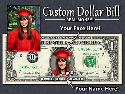 CUSTOMIZED $1 Dollar Bill with ur COLOR Picture & Name! Made w/ Real Cash Money