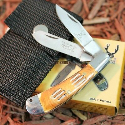 """5"""" Hand Made STAG STYLE 2 Blade Bone Edge Pocket Knife w/holster NEW 9234 zix"""