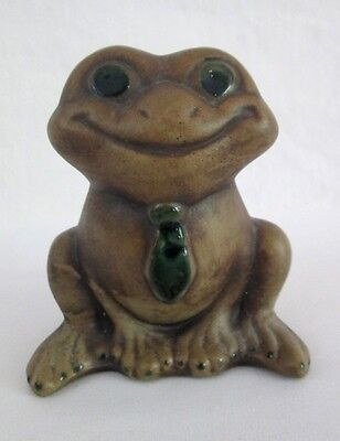 """Bright Eyed Glazed Clay Sitting Frog Figurine with Tie Marked 168 Green 4"""" Tall"""