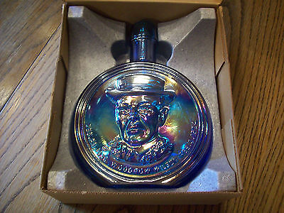 Vintage First Edition Wheaton Decanter WOODROW WILSON~BLUE CARNIVAL GLASS