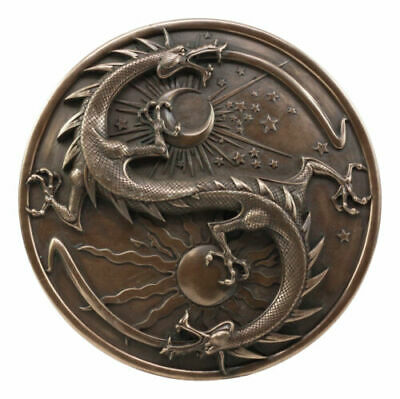 Maxine Miller Double Dragon Alchemy in Robust Yin Yang Astrology Wall Plaque