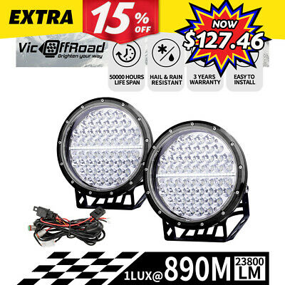 Pair 7inch LightFOX Cree LED Driving Light Black Spotlight Offroad