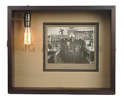 Thomas Edison - Inventor - Signed Photo in Working Light Bulb Shadow Box Display