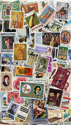 Excellent Collection Of 100 Different Music Postage Stamps - No Duplicates!